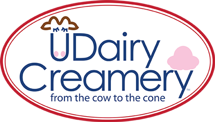 UDairy Creamery logo: from the cow to the cone