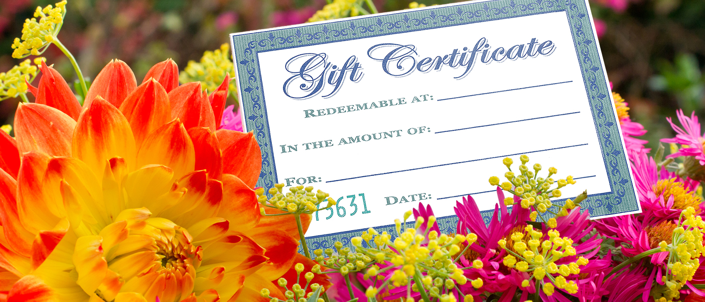 Gift certificate and flowers