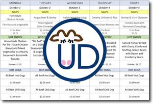 UDairy weekly menu PDF