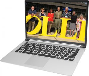 OLLI members displayed on laptop screen